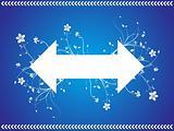 floral vector arrow sign isolated on blue