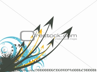 grunge background with flying arrows