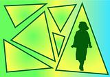 vector image of girl in triangle