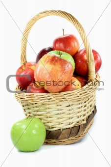 Fall apples assorts in basket.