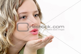 beauty girl sends kiss