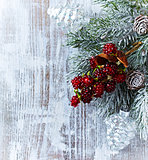 Christmas decoration on painted wood