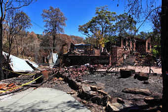 After bushfire, homes razed to the ground.