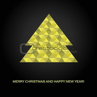 Abstract christmas card with geometric fir tree