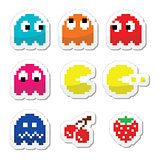 Pacman and ghosts 80's retro computer game icons