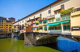 Ponte Vecchio view over Arno  river in Florence