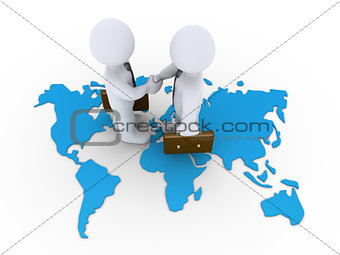 Business agreement on a world map