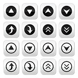 Up and down arrows vector buttons set