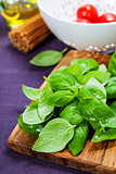 Fresh basil and ingredients