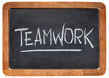 teamwork word on blackboard