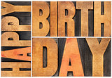 happy birthday in wood type