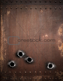 old metal background with bullet holes