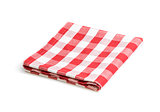 red folded tablecloth isolated