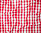 red linen crumpled tablecloth