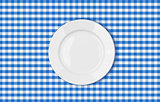 table with blue picnic cloth and plate top view