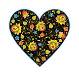 floral heart with traditional russian pattern
