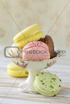 French multicolored macaroons