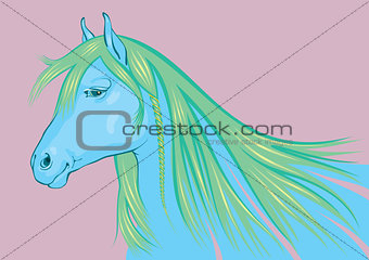 Blue - green Horse, a symbol of New 2014 Year