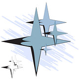 Vector illustration. Group of four-pointed star