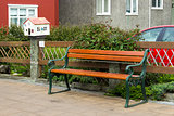 wooden bench in along the street, Reykjavik