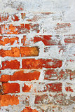 Old brick wall covered with cement and lime