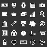 Money icons on black background