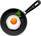 Fried egg on pan