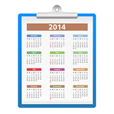 Clipboard with 2014 Calendar