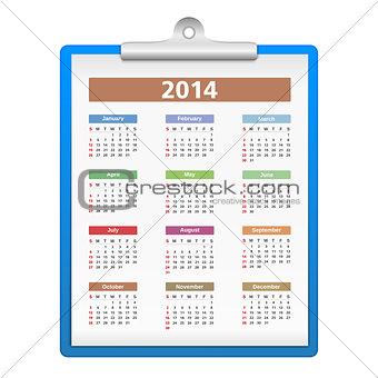 Clipboard with 2014 Calendar