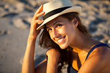 Woman with hat at the beach of Venice Beach