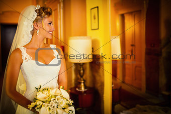 Bride at a mirror