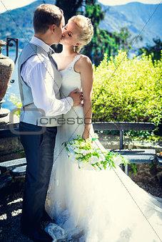 Kissing newlyweds