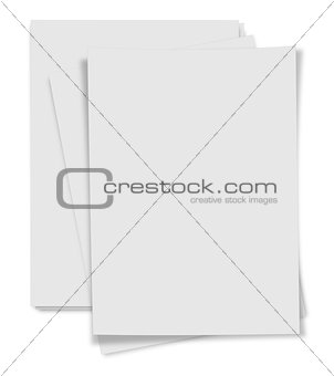 close up  stack of papers on white background