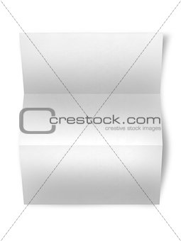 close up of a leaflet blank white paper on white background