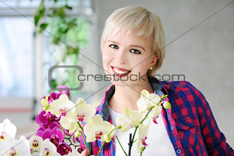 girl with orchids