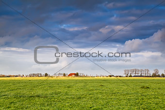 charming house on farmland at storm