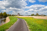 way to windmill and blue sky, Alkmaar