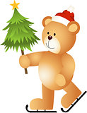 Teddy Bear Ice Skating Holding Christmas Tree