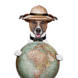 travel globe compass dog safari explorer