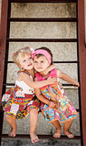two little girls outside