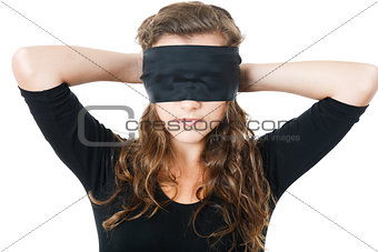 young female tie her eyes
