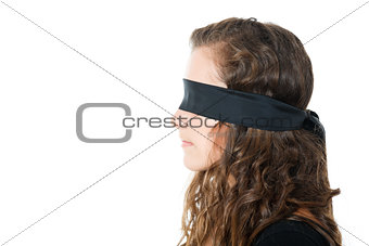 profile of young female with blindfold