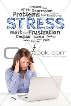 Business woman is sitting in front of a laptop under stress emot