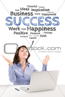 Business woman is sitting in front of a laptop under success emo