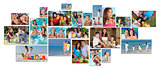 Montage Happy Family Parents & Two Children Lifestyle