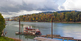 Historic Sternwheeler Docked Along Willamette River in Fall