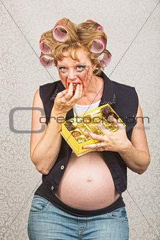 Pregnant Lady Pigging Out