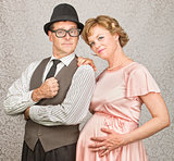 Smiling Retro Pregnant Couple