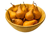 Winter pears in wooden bowl