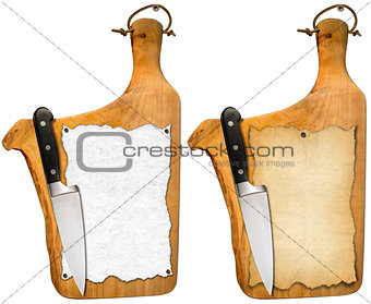 Old Notebook Cutting Boards and Knife